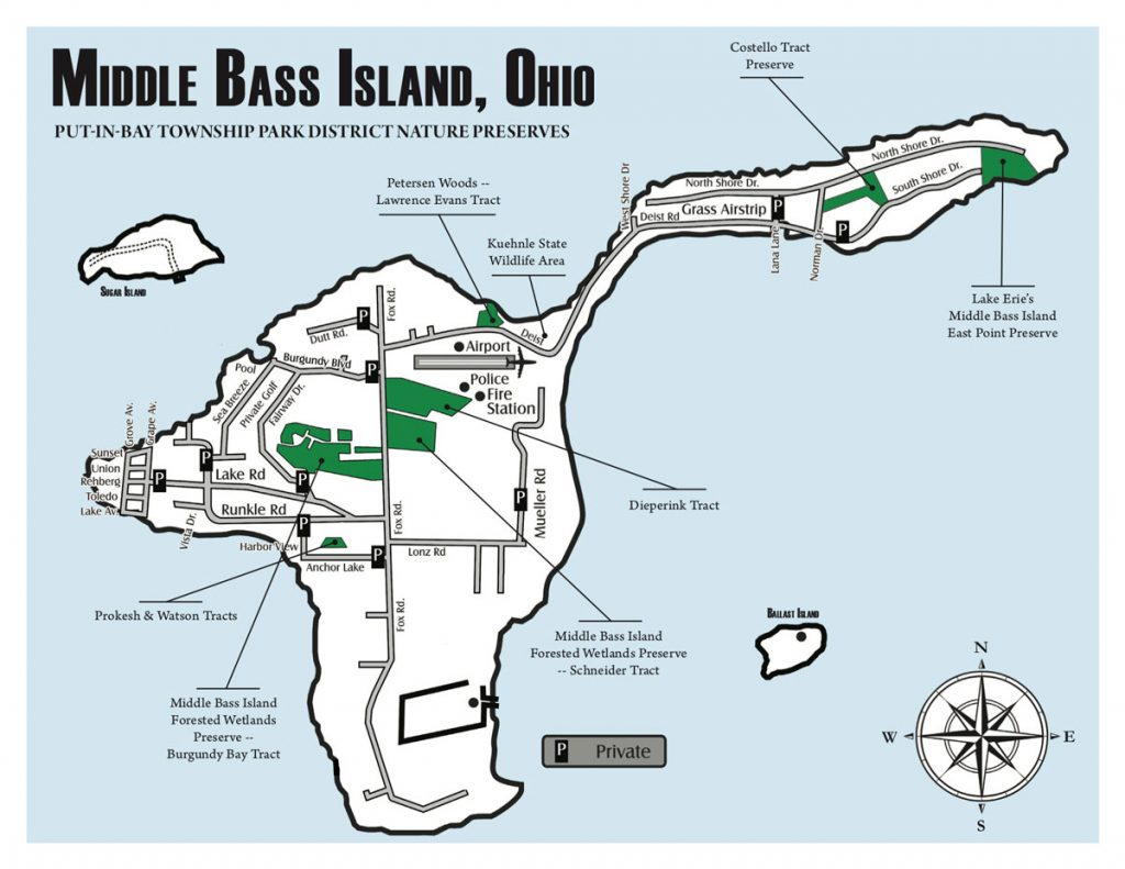 Middle Bass Island Preserves Map